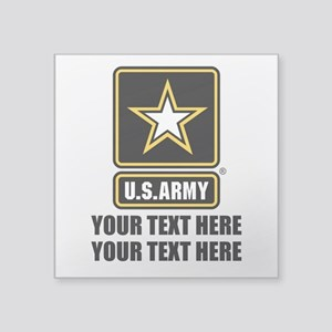 "CUSTOM TEXT U.S. Army Square Sticker 3"" x 3"""